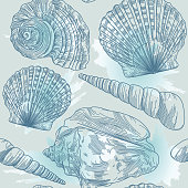 A summery seamless seashell pattern set up on a splashy watercolor backdrop.