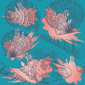 A summery seamless seashell pattern set up on a splashy watercolor backdrop.