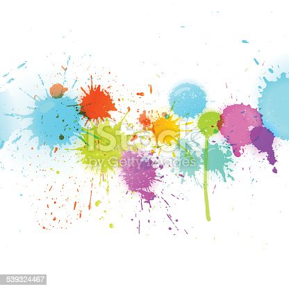 Colorful splashes, ink blots in rainbow/spectrum colors with transparency effect - suitable as paint, ink, splash