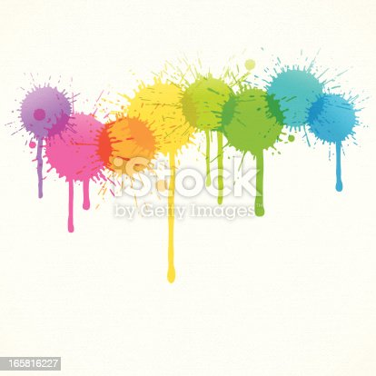Rainbow colored splatters over canvas texture.EPS 10 file with transparencies.Only gradients used.File is layered with global colors.Hi res jpeg and AI 10 file included.More works like this linked below.