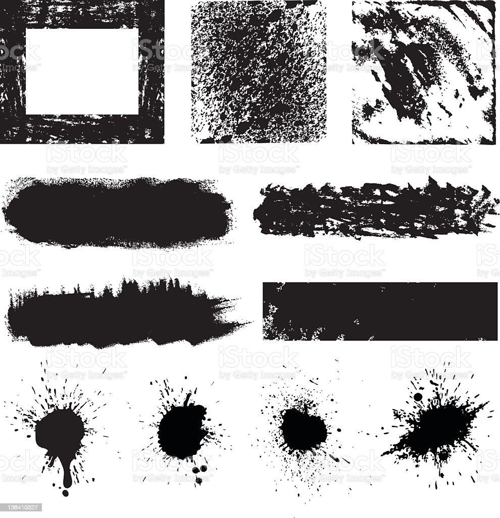 Splatter black and white paint designs royalty-free stock vector art