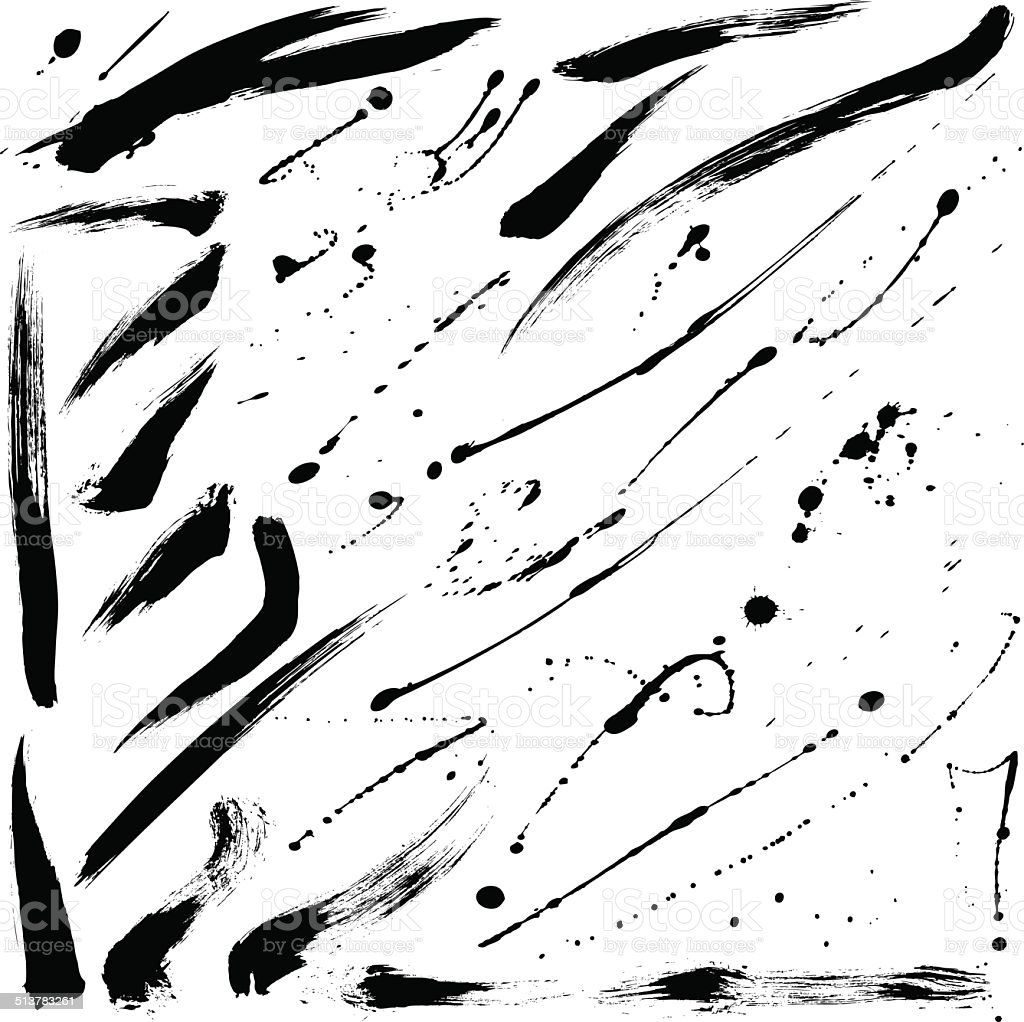 Splatter brushes and Brush Strokes vector art illustration