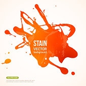 Splatter Paint Banner. Vector Illustration. Orange Painted Background with Acrylic Paint Splash. Ink Spot isolated on white. Abstract Banner Paints. Background for card, poster, identity design
