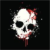 skull made up from paint splatter