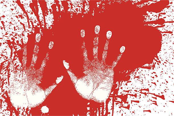 Splattered Blood and Handprints - Forensic Evidence Gettin' crazy with the paint. Splattered red paint with white hand prints.  Either painting the town red or murder... you choose the application. Created in layers for ease of editing. Includes high-resolution JPEG. crime scene stock illustrations