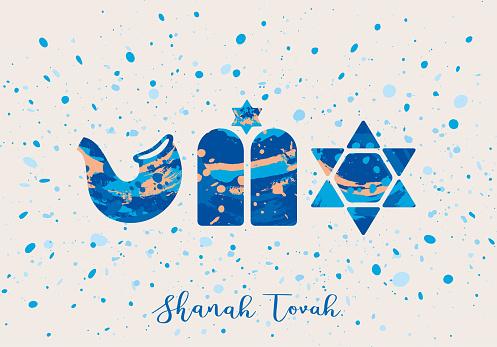 Splattered paint Rosh Hashanah greeting card - light background v2