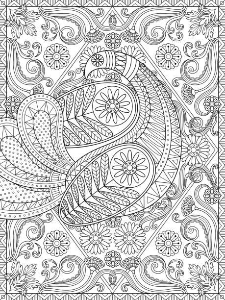 Splendid adult coloring page vector art illustration