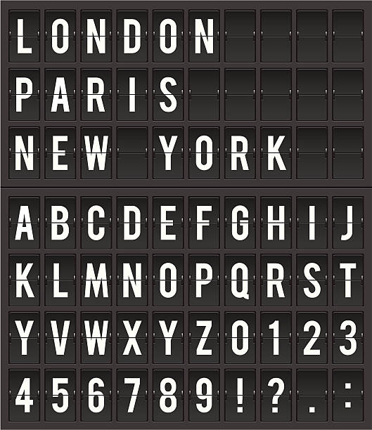 Split Flap Destination Display Illustration Flight destination information display board vector illustration airport stock illustrations