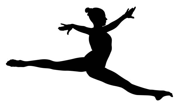 split jump girl gymnast - gymnastics stock illustrations, clip art, cartoons, & icons