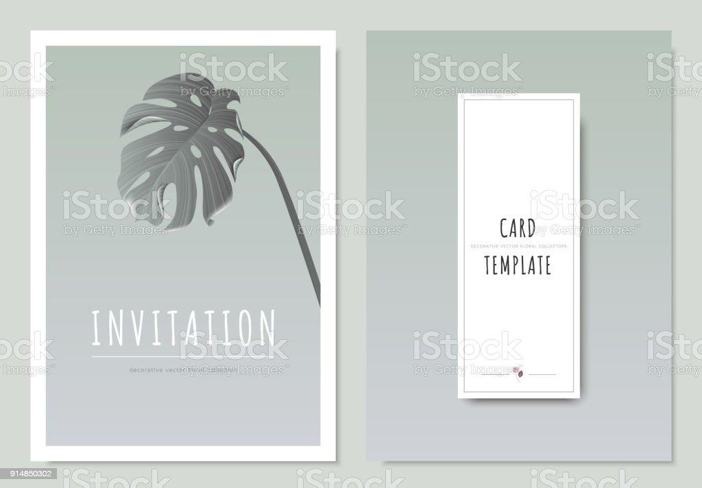 Geteilten Blatt Philodendron Minimale Einladung Vorlage Kartendesign ...