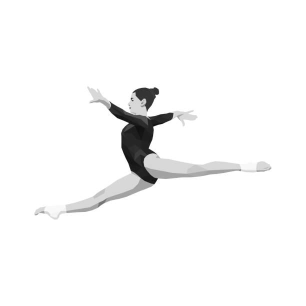 split sprung frauen gymnast - spagat stock-grafiken, -clipart, -cartoons und -symbole