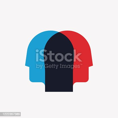 istock Split personality, psychosis, mental health concept with two crossed human heads silhouettes in red and blue colors. Vector illustration 1222357385