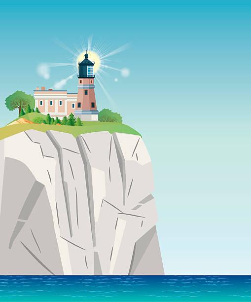 split rock lighthouse - lake superior stock illustrations, clip art, cartoons, & icons