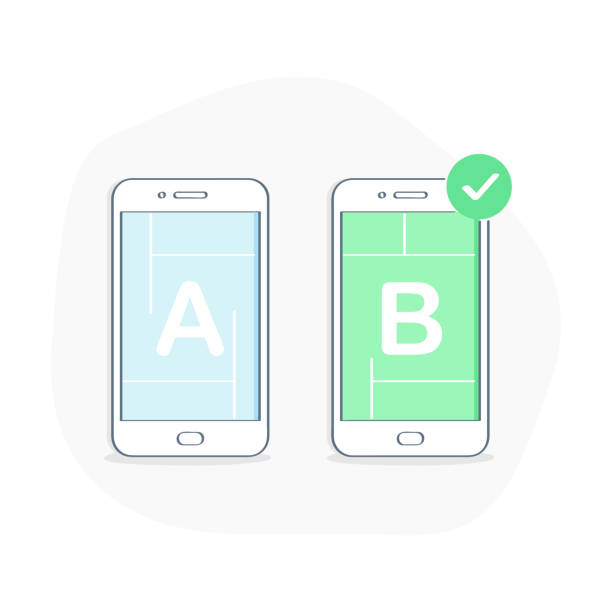 A/B Split Testing Bug Fixing Usability Test - Vector Illustration A/B Testing, Bug Fixing, Usability Test, User Feedback, Comparison of Designs Process on Mobile Phone, Split Testing. Application Development. Flat line isolated vector illustration on white background. scientific experiment stock illustrations