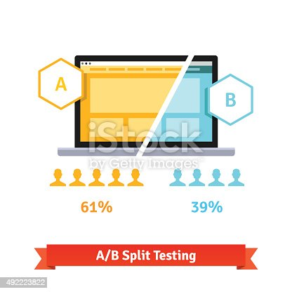 AB split testing. Laptop screen showing two versions of a webpage with different statistical distribution of positive feedback. Flat style vector illustration isolated on white background.
