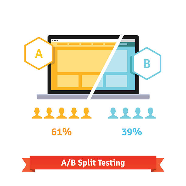 ab split testing. laptop screen - good bye stock illustrations, clip art, cartoons, & icons