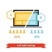 AB split testing. Laptop screen