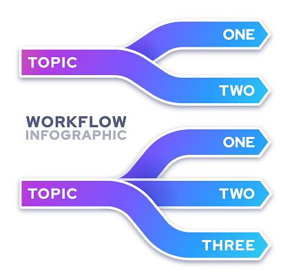 Splitting one topics into two or three design gradient infographic line design.