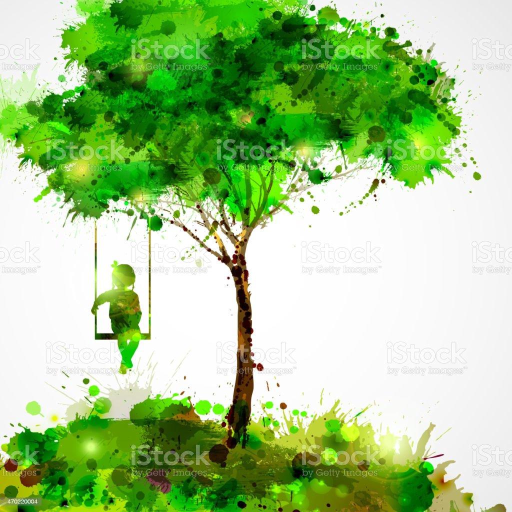 Splotch drawing of a girl on a swing under a tree vector art illustration
