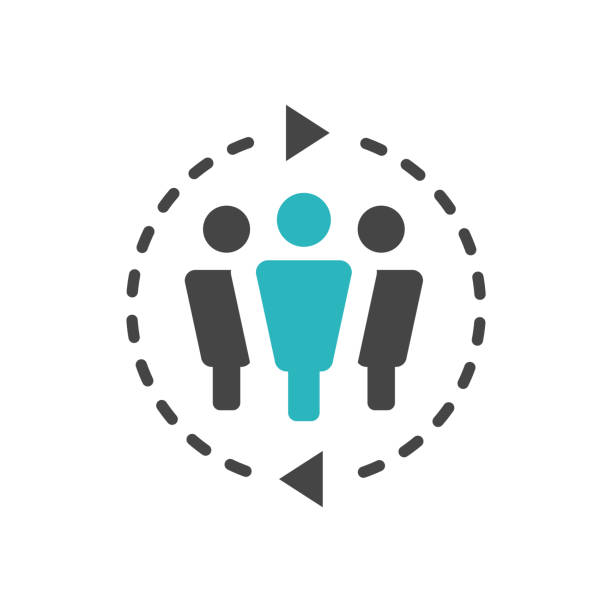 Spokesperson icon - person in a marketing position networks & coordinates with others vector art illustration