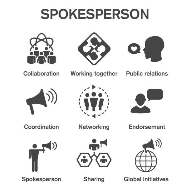 Spokesperson icon set - bullhorn, coordination, pr, and public relations person set vector art illustration
