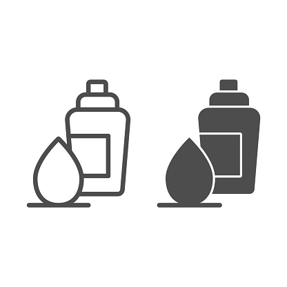 Sponge and foundation line and solid icon, makeup routine concept, Concealer and foundation applicator sign on white background, cream bottle with pump and egg sponge icon in outline. Vector graphics.