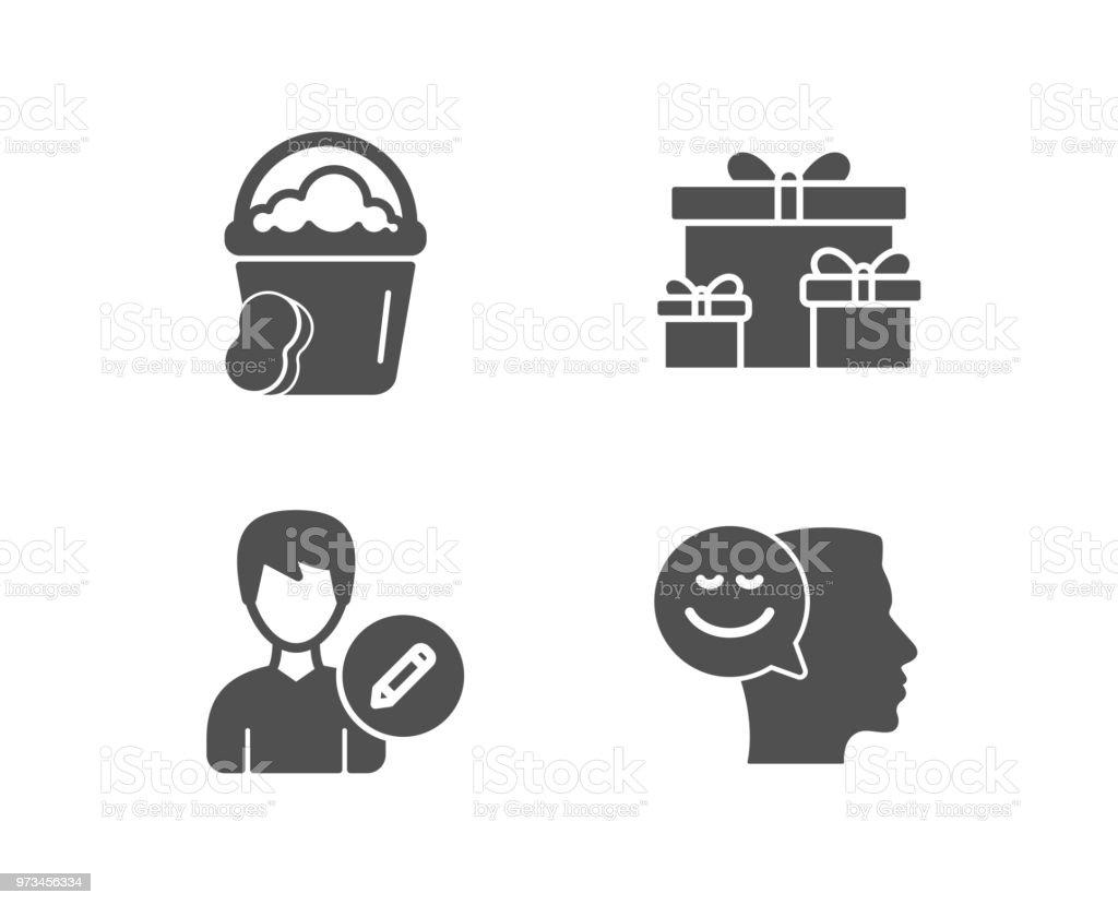 Schwamm Person Und Überraschung Boxen Symbole Bearbeiten Gute ...