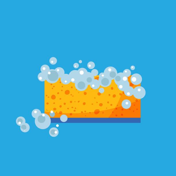 ilustrações de stock, clip art, desenhos animados e ícones de sponge with foam in trendy style. - esponja