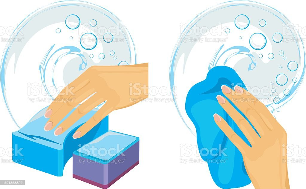 Sponges and cleaning rag in female hand royalty-free stock vector art