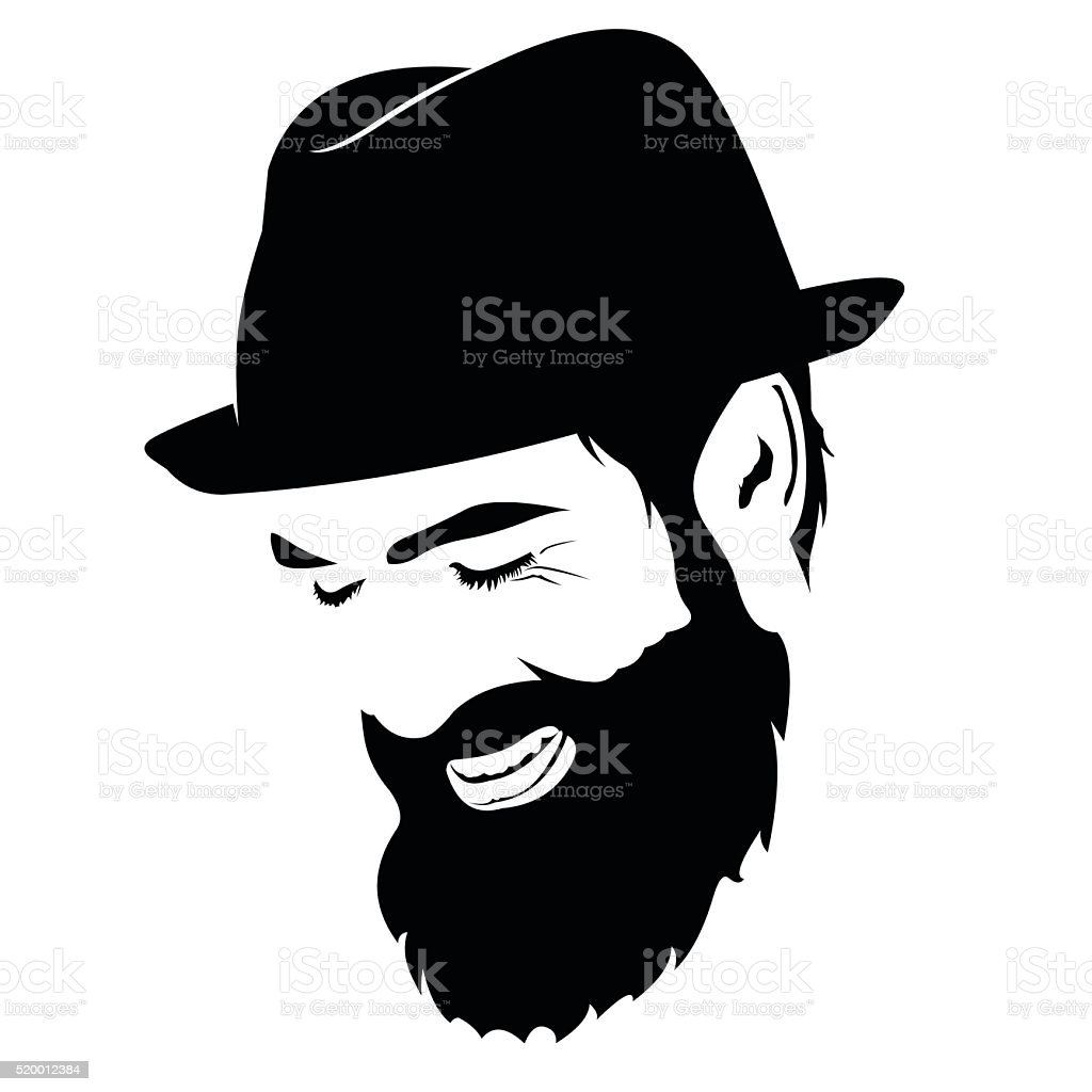 Spontaneous laughing bearded man face clip art vector art illustration