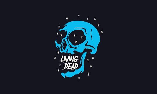 Spooky Cartoon Skull Illustration
