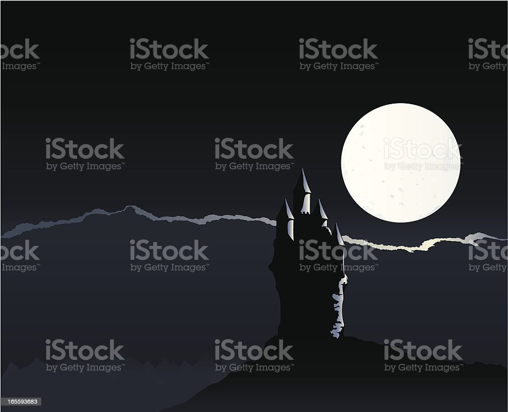 Spooky castle night vector art illustration