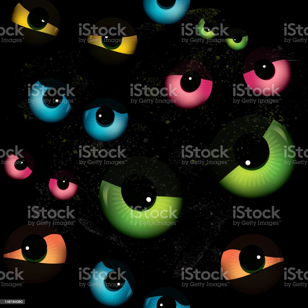 Spooky cat eyes seamless background royalty-free spooky cat eyes seamless background stock vector art & more images of animal body part