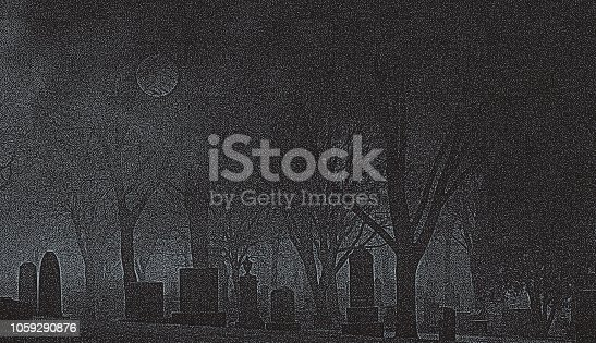 Stipple illustration of a Spooky cemetery at night with full moon
