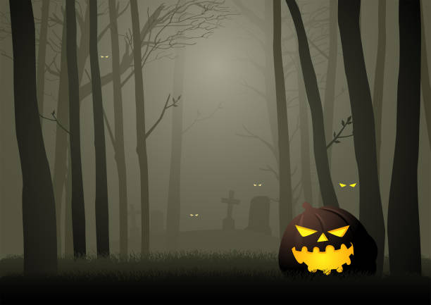 Spooky cemetery in the woods Graphic illustration of  spooky cemetery in the woods, for Halloween theme or background scary halloween scene silhouettes stock illustrations