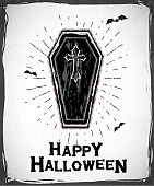 Vector illustration of a Spooky Coffin Happy Halloween Greeting Design template with cross and bats. Fully editable. Perfect for do-it-yourself party idea templates. EPS 10.