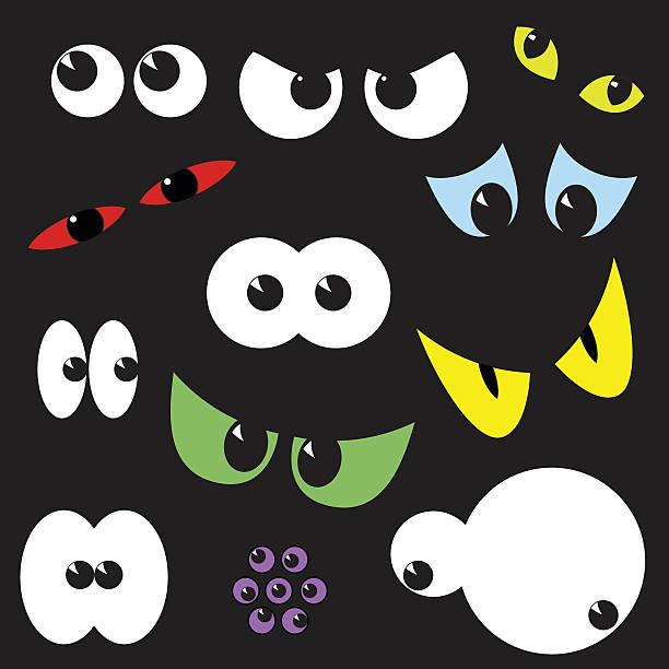 ilustraciones, imágenes clip art, dibujos animados e iconos de stock de spooky eyeballs: clip art de la colección halloween. - ojos azules