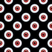 Vector illustration of red eyeballs on a black background.