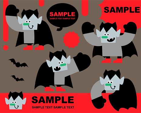 Spooky fun Halloween party invitation, happy vampire greeting