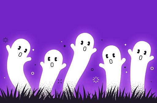 Spooky ghosts Halloween background design pattern.