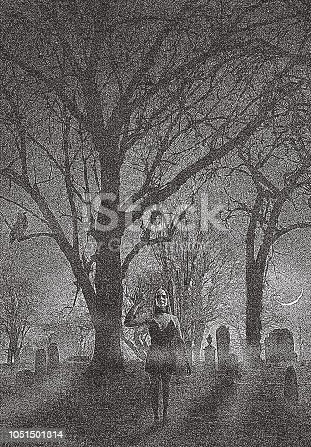 istock Spooky Graveyard on a foggy night with female vampire 1051501814