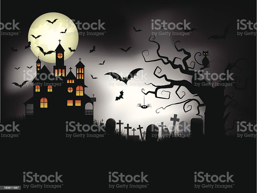 Spooky Halloween Background royalty-free spooky halloween background stock vector art & more images of backgrounds