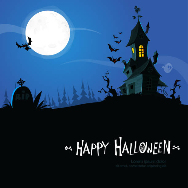 Spooky Halloween background with hounted scary house Spooky Halloween background with hounted scary house scary halloween scene silhouettes stock illustrations