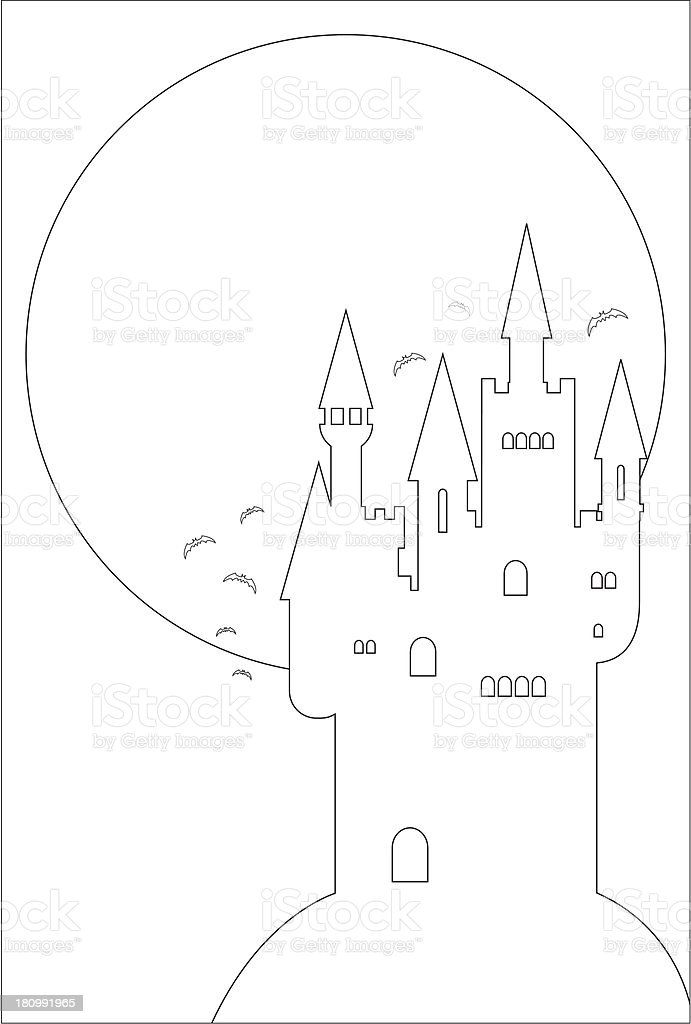 Spooky Halloween Castle and Full Moon in Outline vector art illustration