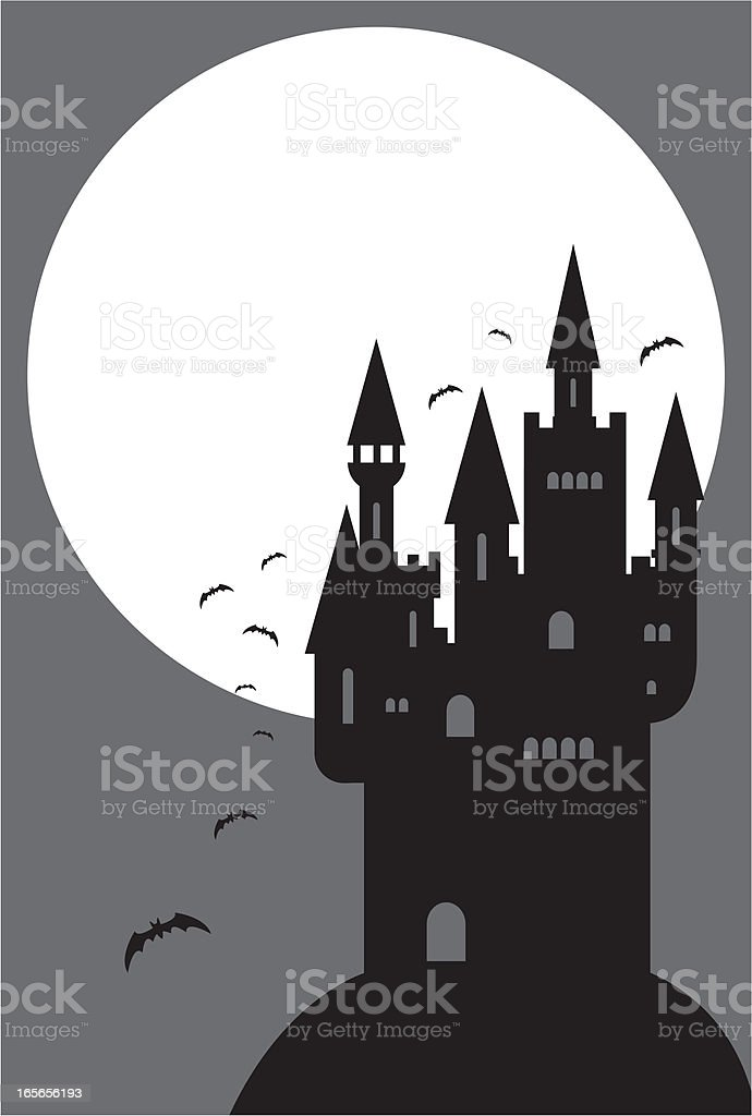 Spooky Halloween Castle and Full Moon vector art illustration