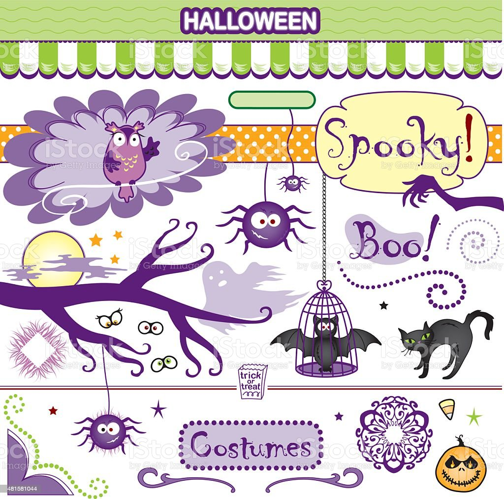 Spooky Halloween Collection Vector Art Set Bat Cat Spiders Owl vector art illustration