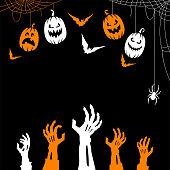 istock Spooky Halloween Hight. Zombie Hands Background. 1342233819