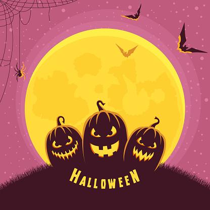 Spooky Halloween night. Jack O Lantern.