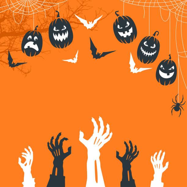 Spooky Halloween night. Zombie Hands Background. vector art illustration