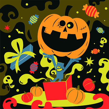 Spooky Halloween party invitation; Blue man and a big pumpkin Jack O' Lantern and candy are popping out of a gift box